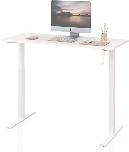 DEVAISE Standing Desk – 55 Adjustable Sit to Stand Up Desk with Crank Handle, White