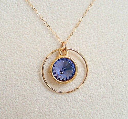 - Blue Purple Swarovski Elements Circle Crystal Frame Pendant 24 Inch 14K Gold Filled Chain Necklace