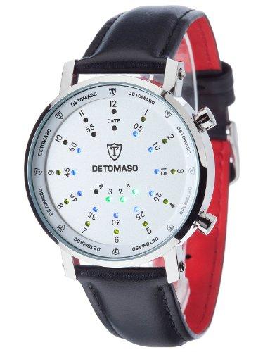 DETOMASO Men's G-30730-S SPACY TIMELINE 2 Binary   Trend Weiss/Schwarz Digital Display Japanese Quartz Black - Trend Fashion Timeline