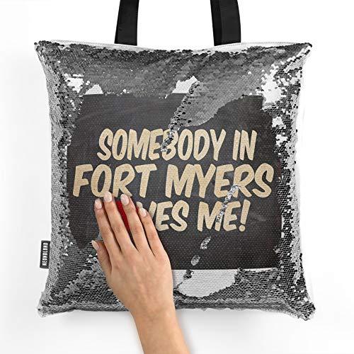 NEONBLOND Mermaid Tote Handbag Somebody in Fort Myers Loves me, Florida Reversible Sequin