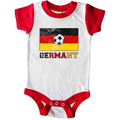 inktastic German Soccer Infant Creeper 6 Months White and Red 2e202 - German Baby Clothes