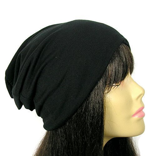 Amazon.com  100% Cotton Black Slouchy Beanie Cotton Hats for Hair ... de1ec1311d3