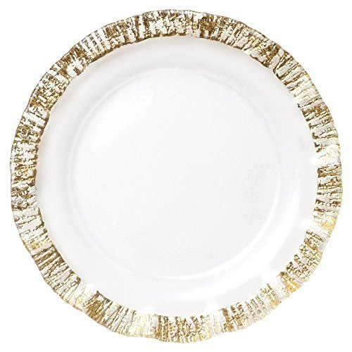 - VIETRI Ruffle Glass Gold service plate/charger by VIETRI