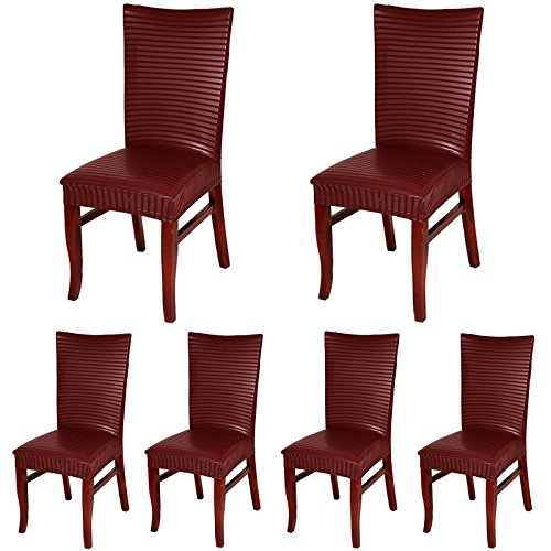 ColorBird PU Leather Striped Chair Covers Universal Stretch