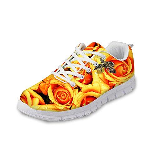 För U Designar Vintage Rosblommigt Utskrifts Womens Mode Sneaker Bekvämt Gång Löparskor Gul D
