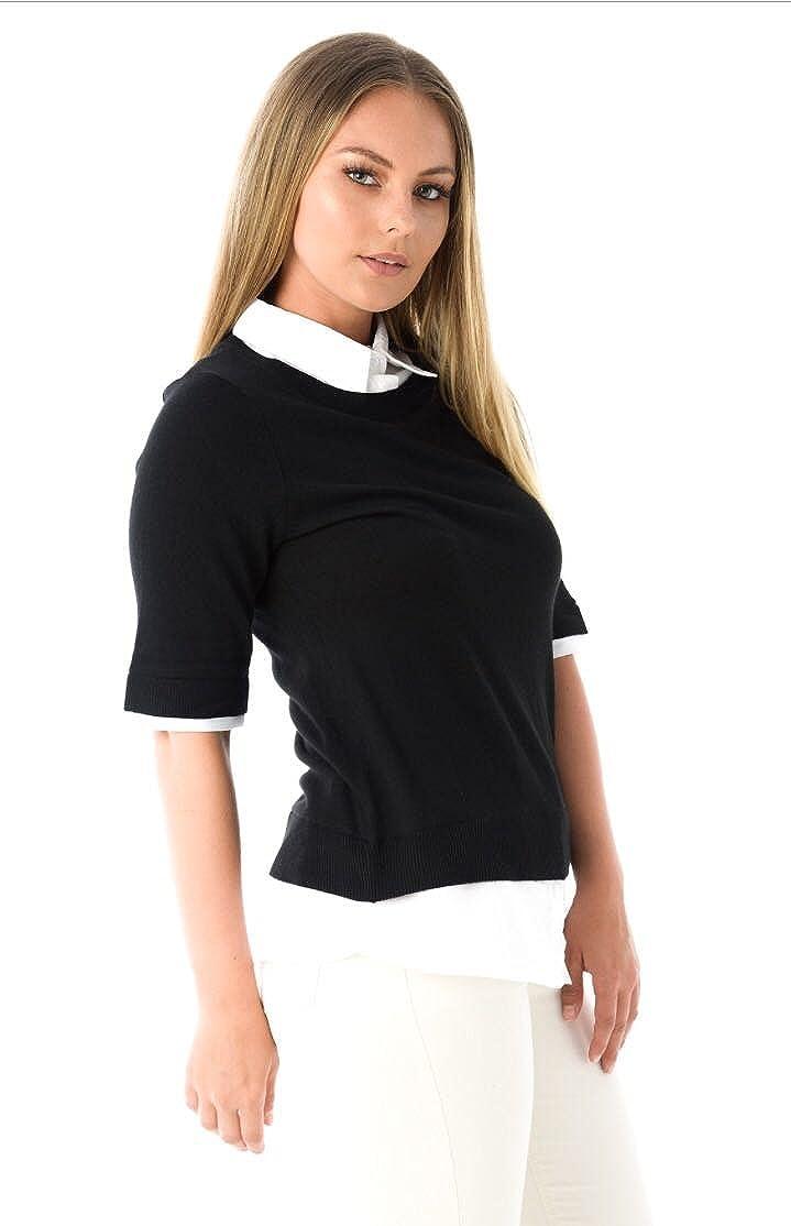 Ex Highstreet Ladies Black Ribbed Trim Short Sleeve Jumper w//Mock Shirt