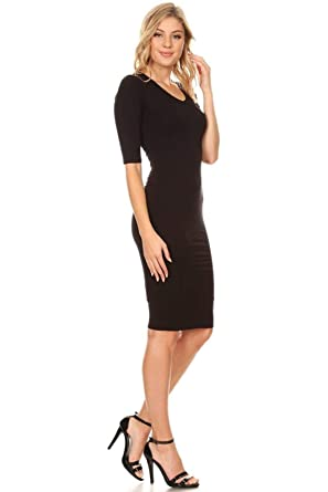 0b8851b6ded5e Vibe Sportswear 3/4 Sleeve Soft V-Neck Bodycon Midi (Lined), Form ...