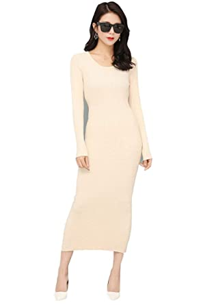 Bodycon dress Women s Midi Dress roundneck Cashmere dress Long Sleeve Slim  Fit Stretchable Elasticity (One 36c1bc3a7