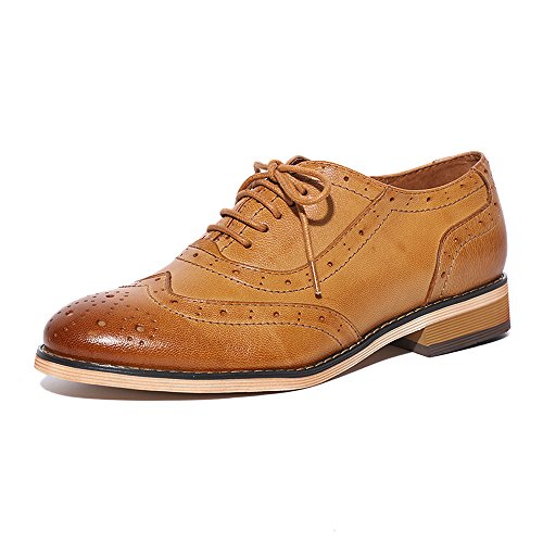 Shoes Up Pump Oxford Lace (Mona Flying Womens Leather Flat Oxfords Shoes For Women Perforated Lace-up Wingtip Vintage Brogues Shoes,9 B(M) US,Brown)