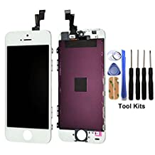 cellphoneage For iPhone 5S New LCD Screen Replacement White Display Glass Touch Screen Digitizer Assembly kit With Free Repair Tool Kits