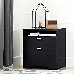 South Shore 10260 Reevo Nightstand with Drawers & Cord Catcher, Black Onyx