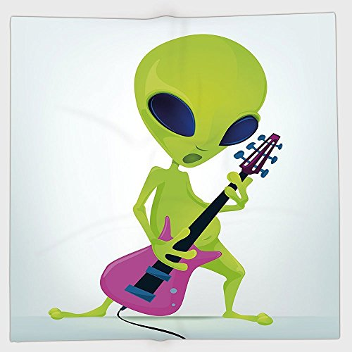 Price comparison product image iPrint Polyester Bandana Headband Scarves Headwrap,Popstar Party,Cartoon Alien Character Playing Electric Guitar Music Monster Decorative,Apple Green Pink Navy Blue,for Women Men