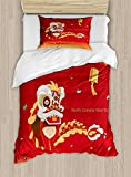 Ambesonne Chinese New Year Twin Size Duvet Cover Set, Little Boy Performing Lion Dance with The Costume Flowering Branch Lantern, Decorative 2 Piece Bedding Set with 1 Pillow Sham, Multicolor