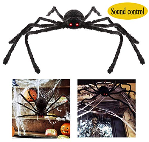 SYBOOMING Giant Spider Halloween Decorations 4.2 Ft LED Eyes Spooky Sound Foldable Spider Halloween Outdoor