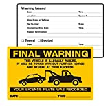 Final Warning, …Illegally Parked, No-Parking Stickers (PK2058FO), 8'' x 5'', Scrape to Remove - Pack of 50