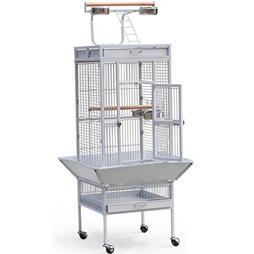 Yaheetech Wrought Iron Bird Cage with Large Play Top – Cage Size:18 x 18 x 35 inch, White