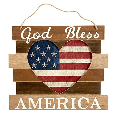 God Bless America Patriotic Wooden Wall Art USA AMERICANA HEART wood with metal