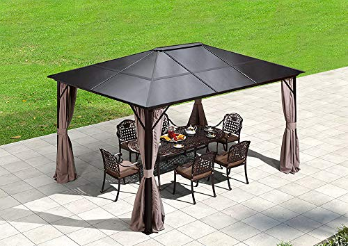 (Erommy 10x12ft Outdoor Hardtop Gazebo Canopy Curtains Aluminum Furniture with Netting for Garden,Patio,Lawns,Parties)