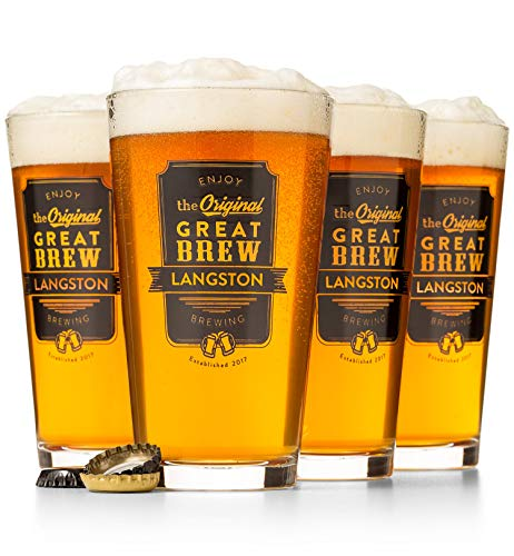 (GiftTree The Original Great Brew Personalized Pint Glasses | Great For Beer, IPAs, Pilsners, Lagers And Other Beverages | Great Gift For The Craft Brew Fanatic)