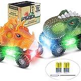 Dinosaur Cars, 2 Pack Dinosaur Vehicles Set Pull Back Cars with LED Light Sound Dinosaur Toys for Boys Toddlers Girls Kids Gifts
