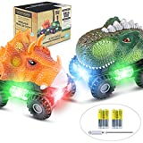 Dinosaur Cars, 2 Pack Dinosaur Vehicles Set Pull Back Cars with LED Light Sound Dinosaur Toys for Boys Toddlers Girls Kids Gifts