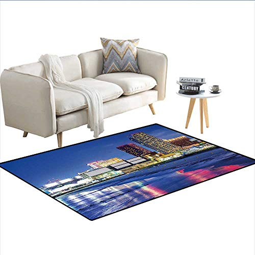 (Floor Mat,Resort Casinos on Shore at Night Atlantic City New Jersey United States,Small Rug Carpet,Violet Blue Pink Yellowsize:48