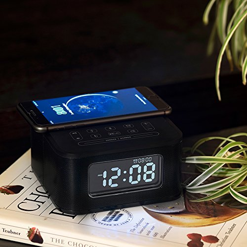 Homtime Wireless Charging Alarm Clock Radio with Bluetooth Speaker for Bedrooms,Wireless Charger for iPhone X,Snooze,4 Dimmer,USB Charger Port,Hands-Free,Black
