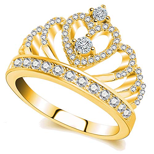 Ailianer Princess Queen Crown Rings for Women Girl Heart-Shaped Ring Jewelry Silver Plated Zircon Gold Ring 6