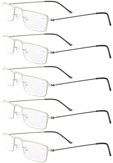 538589908d0 Image Unavailable. Image not available for. Color  Eyekepper 5-Pack  Stainless Steel Frame Half-eye Style Reading Glasses ...