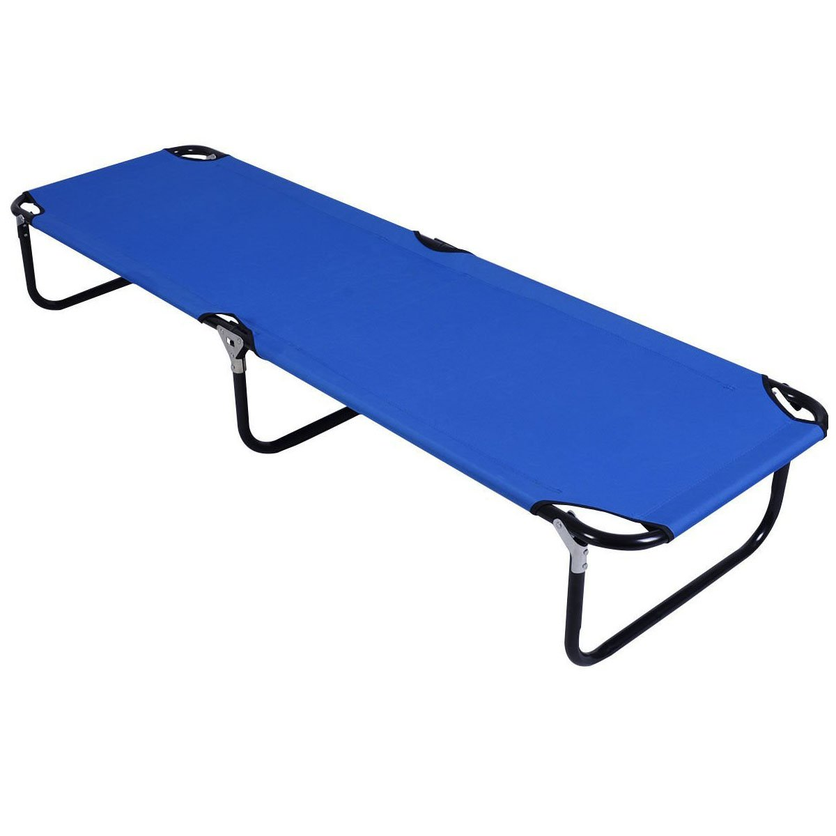 Giantex Blue Folding Camping Bed Hiking Outdoor Portable Army Military Folding Camping Bed