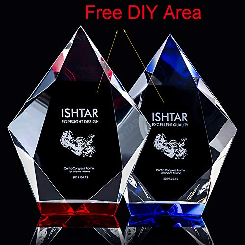 initiative letter Custom-Made Crystal Champion Trophy Cup Free Design DIY Your Own Text/Logo/Image Engraved-8 Inch Tall Metal Award Trophies (Include 5 Pieces)