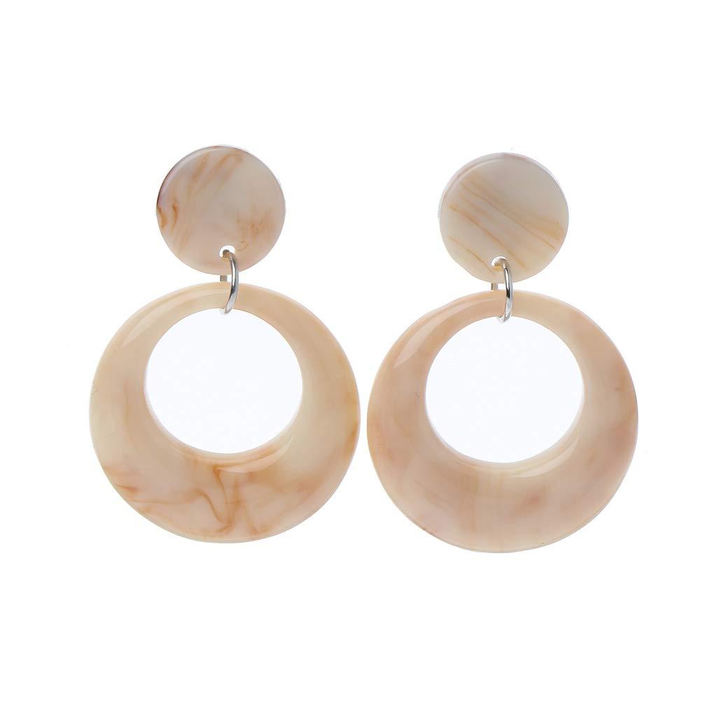 Rhfemd Acrylic Acetate Leopard Geometric Round Drop Earrings Statement Fashion Jewelry