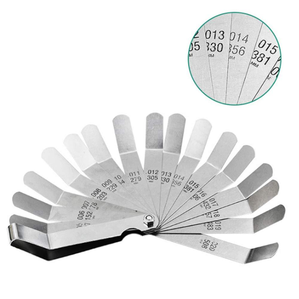 JUHUIZHE - Medidor de caldero de acero inoxidable, doble escala métrica y de separación en pulgadas para medir anchura/espesor 0,127 – 0,508 mm, 16 cuchillas