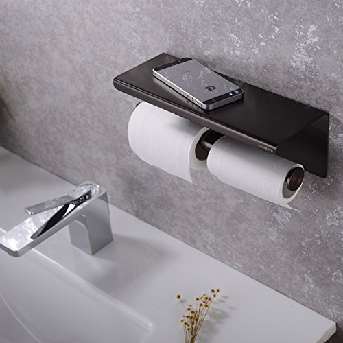 Hanebaht Wall Mounted Double Toilet Paper Roll Holder With