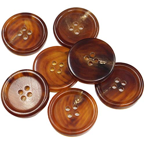 12 Pieces Genuine Natural Button Set- for Overcoat, Winter Coat, Uniform, Jacket, Blazer (Light Brown, 25mm)