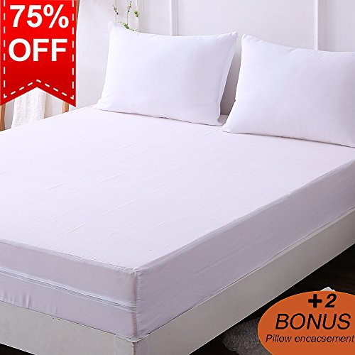 Encasement Cover - DOWNCOOL Zippered Mattress Encasement - Include 1 Bonus Pillowcase - Water Resistant Mattress Protector - Six Side Cover from Bed Bug, Dust Mite (9-12 deep, Full)