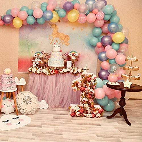 8x8FT Vinyl Wall Photography Backdrop,Tattoo,Fictional Unicorn Boho Background for Baby Shower Bridal Wedding Studio Photography Pictures