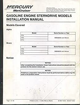 mercury mercruiser gasoline engine sterndrive models installation rh amazon com mercruiser bravo 2 installation manual Mercruiser Manuals PDF