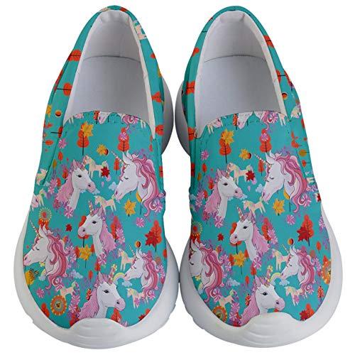 PattyCandy Girls Shoes Woodland Unicorn Kids Lightweight Slip Ons - US 2Y