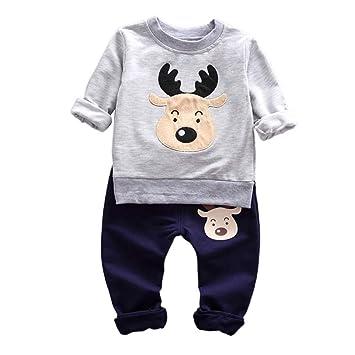 975552351aaf2 QinMM Enfants 2PCs Ensemble de Hauts Tops T-Shirt Longue Manches + Pantalons  Noël Bebe Garcon