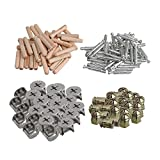 RDEXP Silver Zinc Alloy Furniture Cabinet Fixing Screws Locking Bolt Cam Nut Fitting with Wood Dowels Set of 40