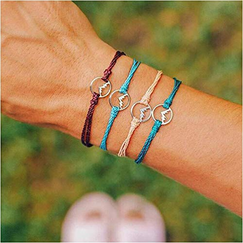 pe Compass Pinnacle Bracelet Set for Women Geometric Adjustable Bangle Set pulseiras (Round) ()