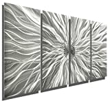 Statements2000 Silver Metal Wall Art, Abstract Metallic Wall Hanging - Contemporary Wall Art - Modern Panel Art, Wall Decor, Wall Sculpture, Wall Accent - Static