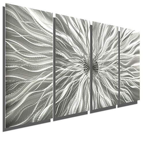 Abstract Silver Metal Wall Art Sculpture - Multi-Panel Modern Home Décor Static by Jon Allen (Metal Mirror Art)