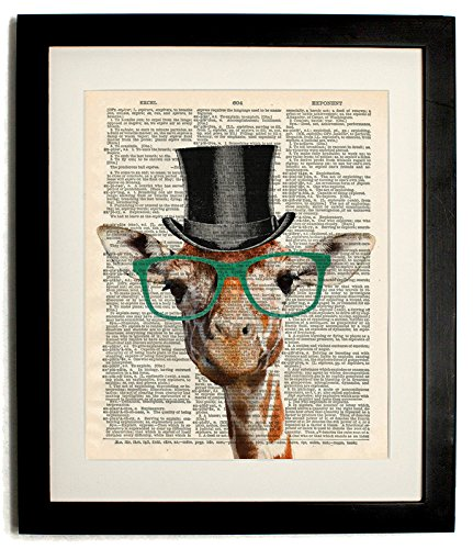Frame Giraffe (FRAMED gentleman giraffe Upcycled Vintage Dictionary Art Print Matted 10