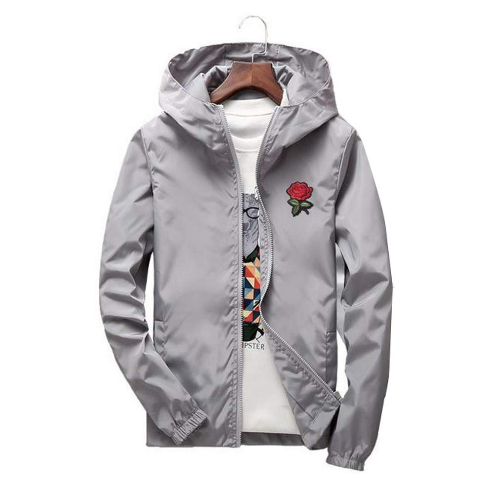 Mens Hooded Jackets,Vanvler Male Stripe Long Sleeve Top Zipper Blouse Autumn Winter Warm Coat Clearance Sale