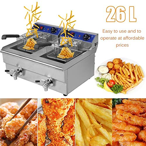 Robincure 26L 3.3KW Temperature Control Timing Double Container Electric Deep Fryer