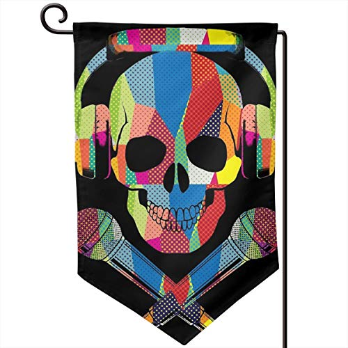 Private Bath Customiz Retro DJ Skull Music Garden Flag Waterproof Double Sided Yard Outdoor Decorative 12.5 X 18 Inch Welcome Flags -