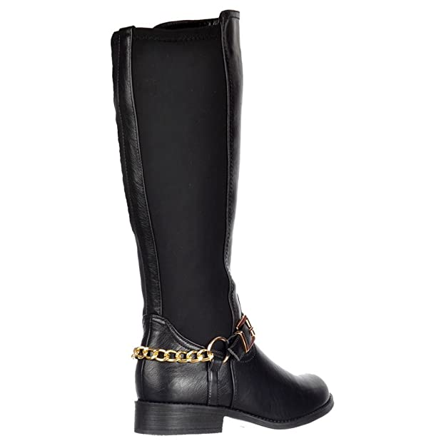 8680f5caada Onlineshoe Womens Ladies Extra Wide Calf Stretch Knee High Flat Riding Boot  - Gold Buckle - Black PU, Black, UK3 - EU36 - US5 - AU4: Amazon.co.uk:  Shoes & ...