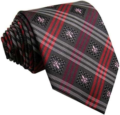 Shlax&Wing Necktie Grey Mens Ties Red Plaids Classic Silk 63
